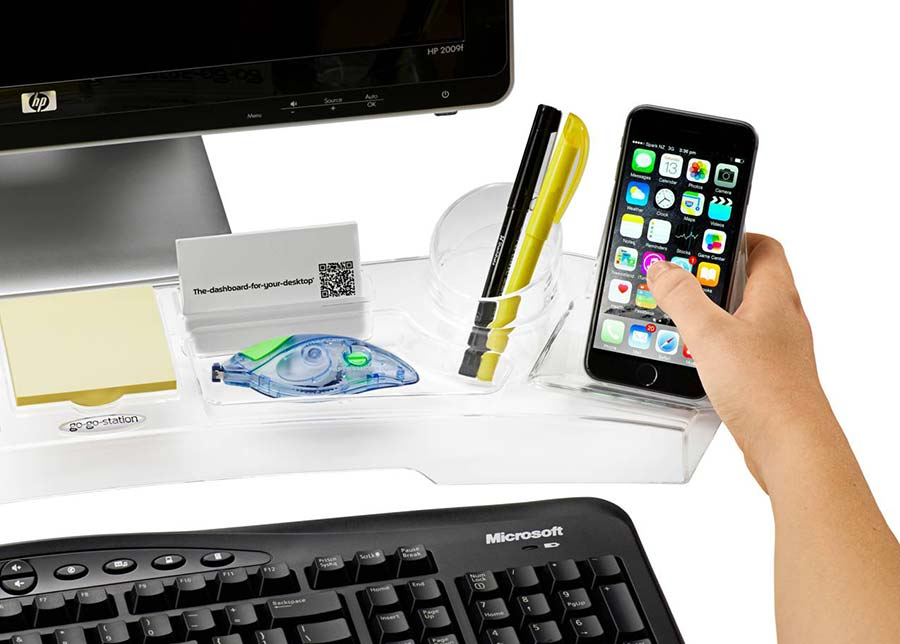 Go go station desktop organizer supports your smartphone in an